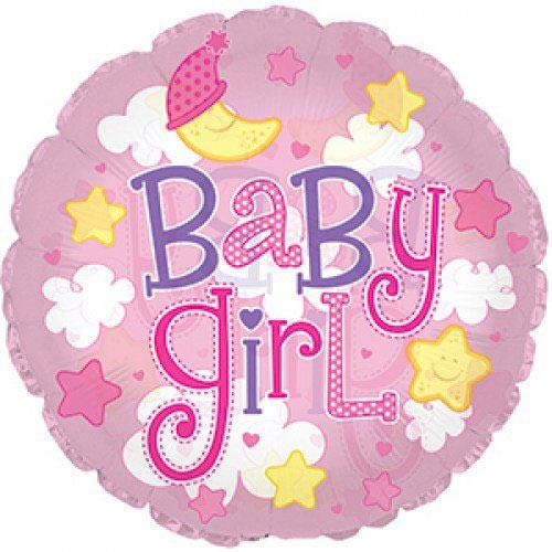 Шар (24''/61 см) Круг, Малышка-девочка (облака), Розовый