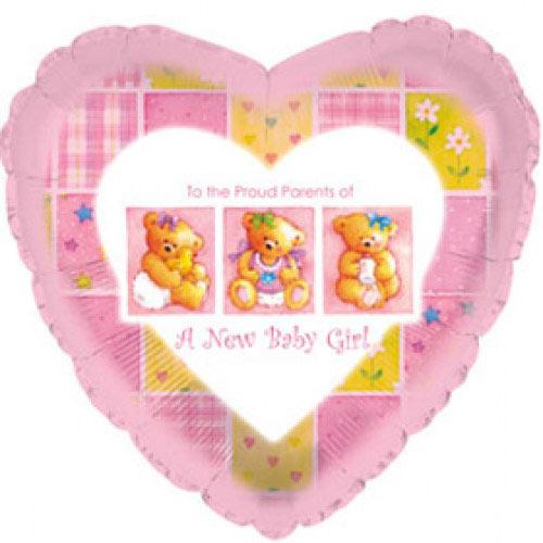 Шар (18''/46 см) Сердце, С рождением девочки (мишки), Розовый