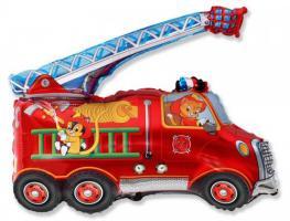 Шар (14''/36 см) Мини-фигура, Пожарная машина, Красный
