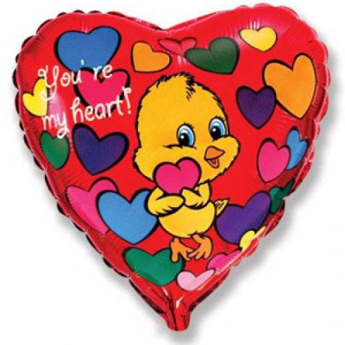 (18''/46 см) Сердце, Влюбленный цыпленок, Красный.