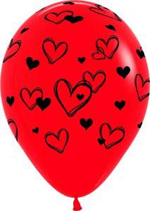 Шар (12''/30 см) Набросок сердец, Красный , пастель