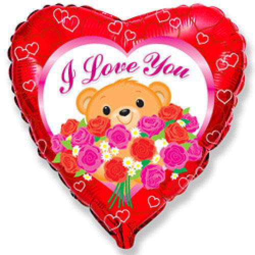 Шар (18''/46 см) Сердце, Медведь с розами, Красный