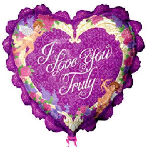 Шар (36''/91 см) Сердце, Я люблю тебя (рюшки с ангелами), Фиолетовый