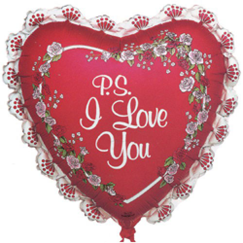 Шар (27''/69 см) Сердце, Я люблю тебя (рюшки), Красный