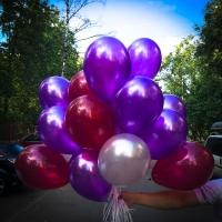 Готовый букет № 21 трёх цветов фиолетовый ,вишня , кристалл