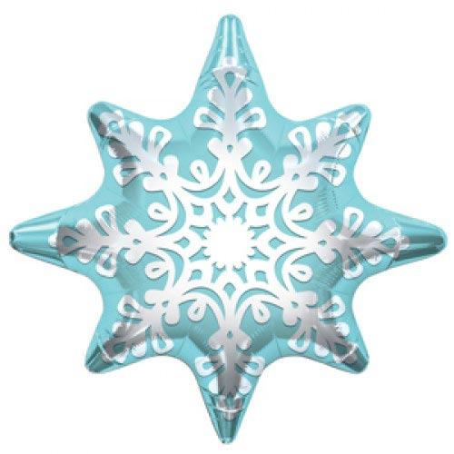 Шар (24''/61 см) Фигура, Снежинка, Голубой