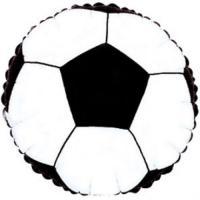 Шар (18''/46 см) Круг, Футбольный мяч, Черный, 1 шт.