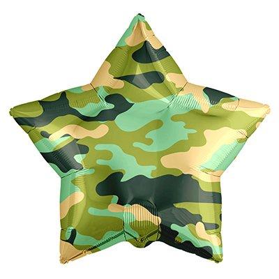 "Шар Р 18"" Камуфляж зеленый звезда"