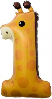 Шар (39''/99 см) Цифра, 1, Жираф