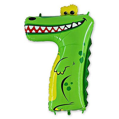 "1207-1689 Шар цифра 7 36"" Крокодил"