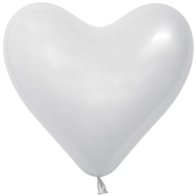 """1105-0340 Шары белые Эвертс 12"""" Сердце/100 White"""