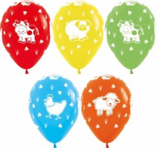 Воздушный шарики (12''/30 см) Веселая животная ферма, Ассорти, пастель, 5 ст