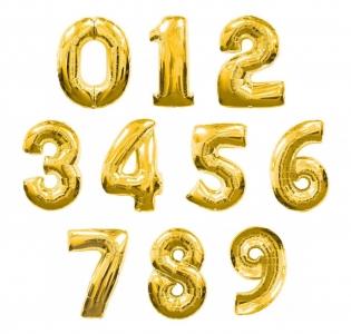 Золотые цифры из фольги от 0 до 9
