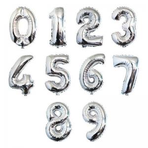 Серебряные цифры из фольги от 0 до 9