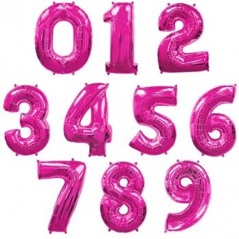 Розовые (Pink) цифры из фольги от 0 до 9