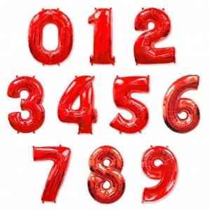 Красные (Red) цифры из фольги от 0 до 9