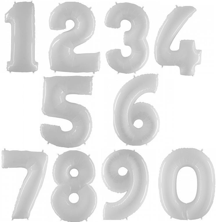 Белые (White) цифры из фольги от 0 до 9