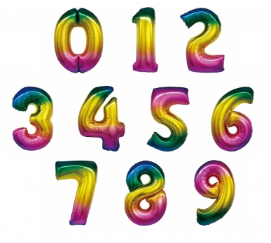 Радужные цифры из фольги от 0 до 9