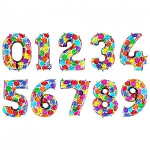 """Окрас шаров """"Разноцветные шарики"""" цифры из фольги от 0 до 9"""