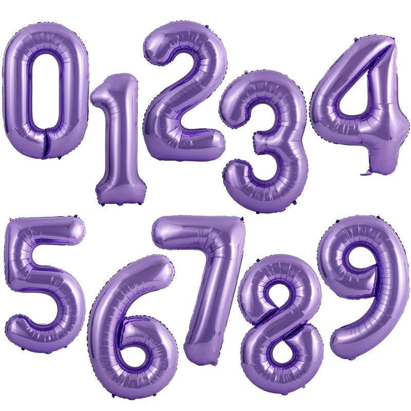 """Фиолетовые  """"Purple"""" цифры из фольги от 0 до 9"""