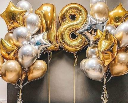 Хромированные шары латекс, звёзды, цифры готовый букет на торжество