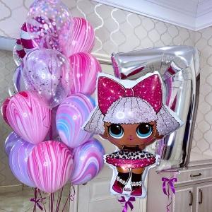 Кукла ЛОЛ (LOL) в воздушной композиции из шаров