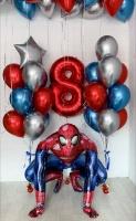 Шары хром ходячий человек паук готовый букет шаров с гелием