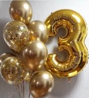 Букет из шаров золотой хром зеркального праздника