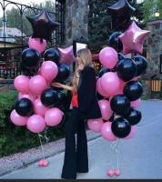 Готовый букет из двух связок розовый , черный .