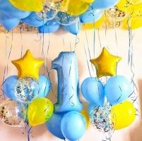 Шары трёх видов шаров для первого дня рождения готовая композиция