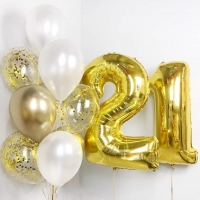 Готовый букет на день рождения из 11 шаров всего за 1935 рублей .