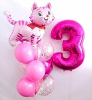 Готовый букет из шаров на день рождения милая кошечка